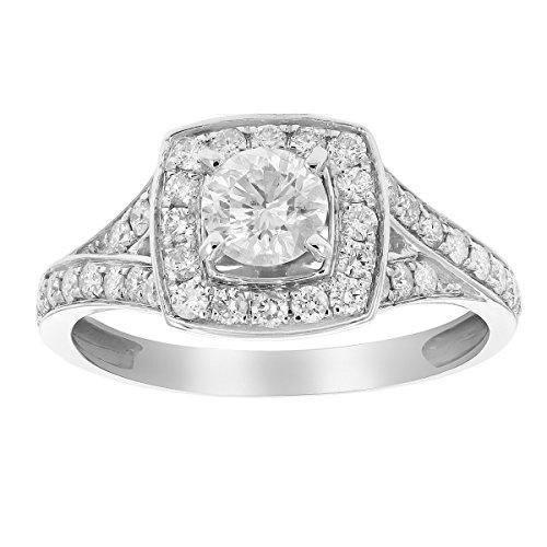 1 CT Diamond Halo 4-Prong Set Wedding Engagement Ring 14K White Gold in Size 6