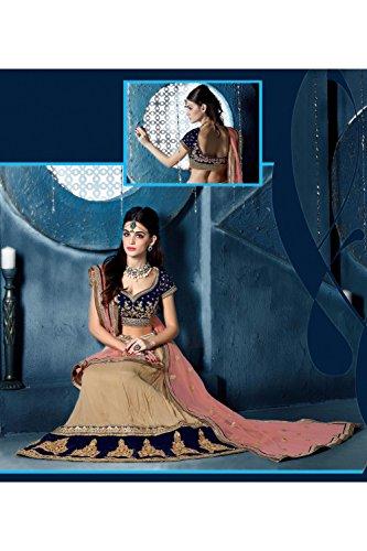 IWS Womens Chiffon Fabric Brown Pretty Circular Lehenga Style 81283