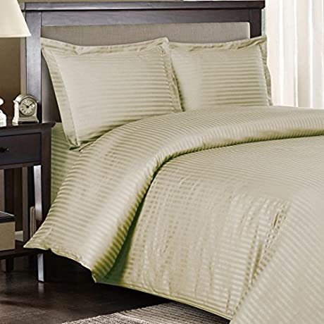 Ultra Soft Exquisitely Smooth Genuine 100 Plush Cotton 1200 Thread Count Bed In A Bag Lavish Sateen Stripe Bed Ensemble 8 Piece Full Size Bed In A Bag Stripe Linen