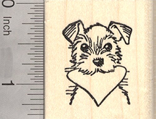 (Valentine's Day Terrier Rubber Stamp, Dog with Heart in Mouth)