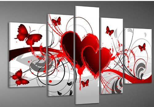 Hand-painted Wood Framed Oil Wall Art Red Flower Love Butterfly Home Decoration Abstract Landscape Oil Painting on Canvas (Butterfly Hand Painted Art)