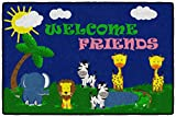 Flagship Carpets CE147-14W Welcome Mat - Friends Safari, Multi