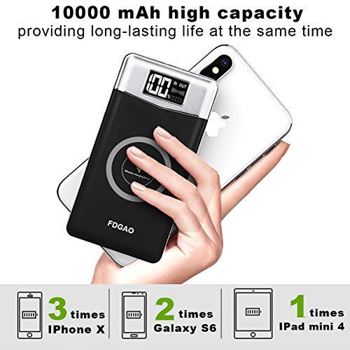 FDGAO Wireless Power Bank, Portable Charger 10000mAh Wireless Portable Charger with LED Digital Display Fast Charging for iPhone 8/8 Plus/iPhone X,Samsung Galaxy Note8/S8/S7/S7 Edge (Black) by FDGAO (Image #2)
