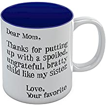 Mother's Day Gift idea For Mom Funny Coffee Mug - Dear Mom: Thanks for Putting Up With a Spoiled Child Like My Sister, Birthday / XmasPresent For Mothers From Daughter, Son Tea Mug 11 Oz. Blue