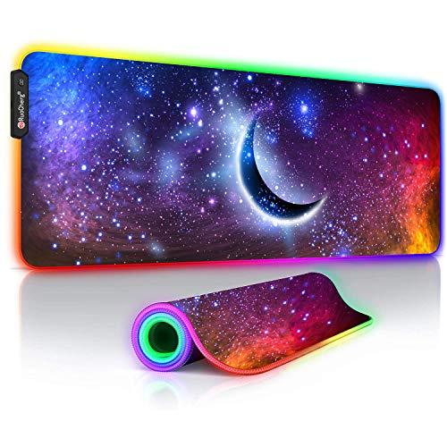 RGB Mauspad, 2020 Neuestes Planetendesign Gaming Mousepad, 14 Beleuchtungs-Modi, Rutschfester Gummibasis und Wasserdichter Oberfläche, Mousepad Großes für Computer PC Professionelle Gamer (800X300mm)