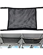Car Ceiling Storage Net Pocket,Universal Car Interior Ceiling Cargo Net for Car Ceiling with Adjustable Strap, Double Layer/Zipper, Roof Mesh Cargo Net Organizer for Long Trip Camping(35 x 25 in)