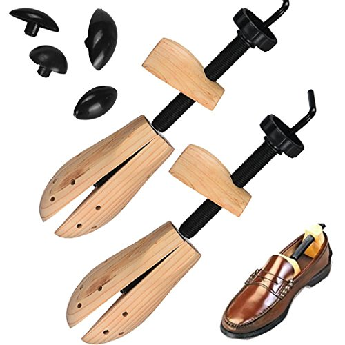 Elevin(TM)2x Men Women Wooden Shoe Stretcher,Size 7-12, Adjustable Professional Pair of Premium Professional 2-way Cedar Shoe (Shoe Size Table)