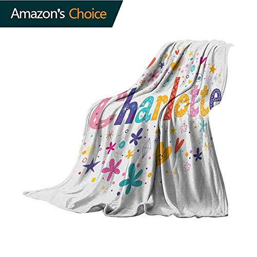 Charlotte Bed Blanket,Happy Smiling Stars and Hearts Joyous Composition of Colorful Female Name Design All Season Light Weight Living Room/Bedroom,30