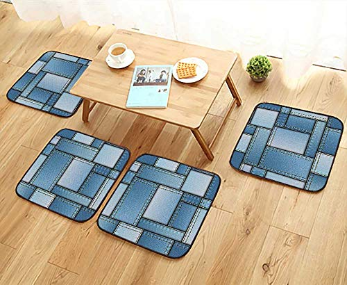 Leighhome Simple Modern Chair Cushions Patchwork of Different Size Denim Fabric Pattern with Vertical Warp Beam Artprint Blue Reusable Water wash W27.5 x L27.5/4PCS Set