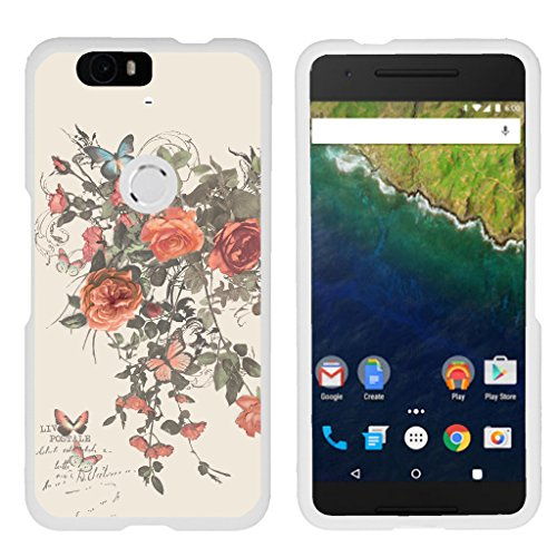 Compatible with Huawei Nexus 6P Case | Google Nexus 6P Case [Slim Duo] Ultra Slim Lightweight Matte Hard 2 Piece Cover Protector on White by TurtleArmor - Elegant Roses