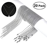 NUOLUX Ball Chain Necklaces 30 Inches Bead Chain Stainless Steel 20 Pieces