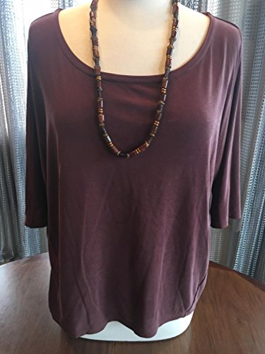 Custom Couture M plum tunic with copper and plum beaded necklace 1413 ()