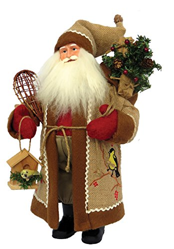 Santa's Workshop 7630 Chickadee on Burlap Santa Figurine, 15