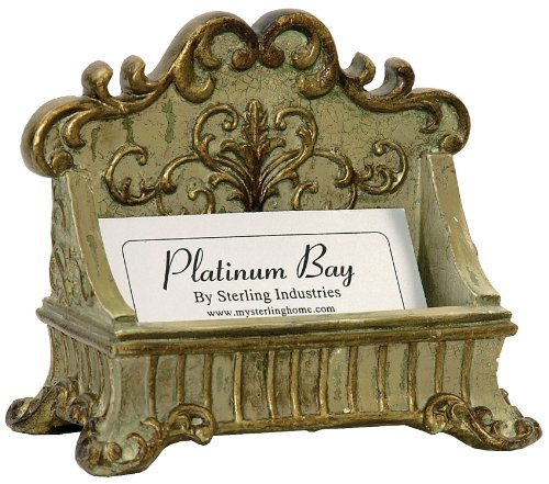 Sterling 91-3387 Lucinda Scroll Card Holder, 3 by 4-Inch, Painted Green/Gold Finish (Finish Gold Green)