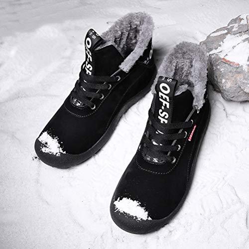 Cheville Taille Chaussures Courtes De Bottes D'hiver Plein nubuck 6 Hommes Antidrapantes Neige Uk En Air Doubles Chaudes 12 Entirement Cczz Black Baskets Fourrure C7TqzxSwv