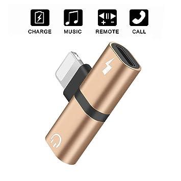 Adaptador para Auriculares Cargador para iPhone 7 2 en 1 Adaptador de Audio Adaptador para Auriculares Conector para Auriculares Control de música ...