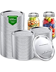 100 Count Regular Mouth Canning Lids Mason Jar Lids for Ball, Kerr Jars Split-Type Metal Canning Jar Lids BPA Free Food Grade Material Leak Proof and Secure Canning Jar Caps with Silicone Seals Rings