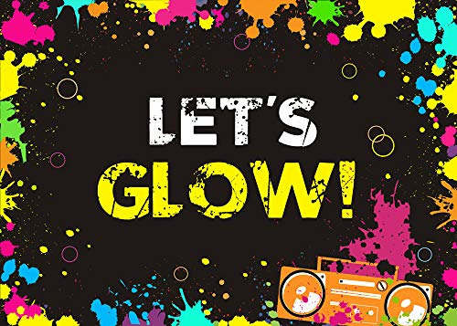 Fanghui Lets Glow Splatter Photography Backdrops Glow Party Decoration Supplies Photo Booth Studio Props Vinyl Black Background 7x5ft