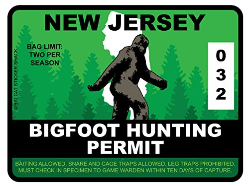 Bigfoot Hunting Permit - NEW JERSEY (Bumper Sticker)