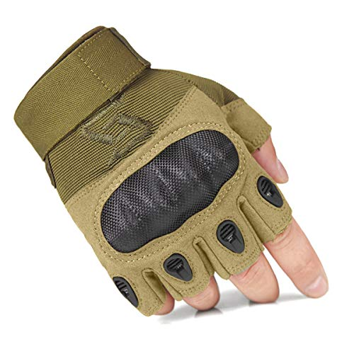 FREE SOLDIER Tactical Gloves for Men Military Hard Knuckle Outdoor Cycling Gloves Armor Gloves (Sand Fingerless, X-Large)