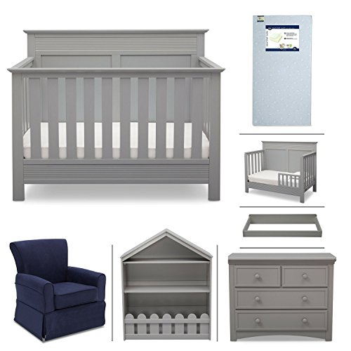 Crib Furniture - 7 Piece Nursery Set with Crib Mattress, Convertible Crib, Dresser, Bookcase, Glider Chair, Changing Top, Toddler Rail, Serta Fall River - Gray/Navy