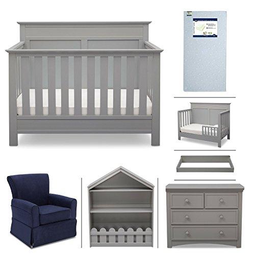 Crib Furniture - 7 Piece Nursery Set with Crib Mattress, Convertible Crib, Dresser, Bookcase, Glider Chair, Changing Top, Toddler Rail, Serta Fall River - Gray/Navy from Delta Children