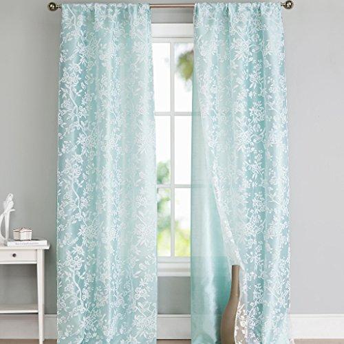 Spa Blue & White Floral Burnout Pole Top Window Curtain Pair