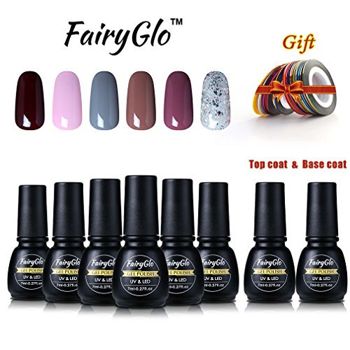 Top Coat Roll - Nail Polish Base Top Coat Striping Roll Tapes Nail Art Kit Lacquer Manicure Varnish Gift Set Soak Off UV LED FairyGlo 7ml 1015