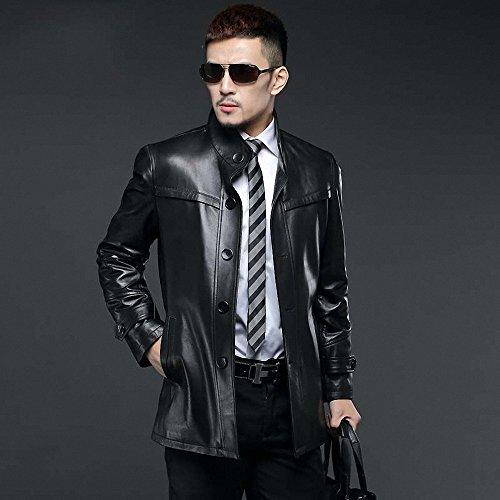 慕派迪 真皮風衣 男士皮衣外套 修身中長款皮裝 海寧皮衣 m14a9308圖片
