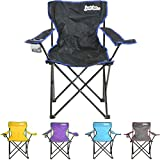 just be…® Folding Camping Chair - Black with Blue Trim