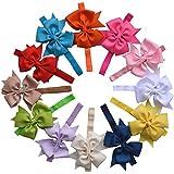 QS® Baby Girl Elastic Headbands Chiffon Flower, Bow, Crystal