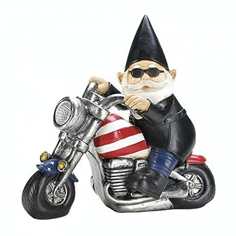 Biker Gnome Solar Garden Statue (Gnome With Hats)