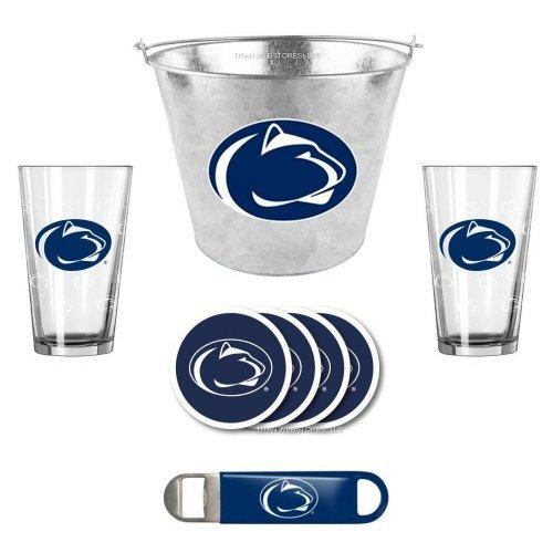 (NCAA Penn State - Galvanized Ice Pail, Pint Glasses (2), Coasters (4) & Bottle Opener Set | Penn State Nittany Lions Beer Bucket Gift Set )
