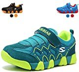 Boys Running Shoes Kids Strap Athletic Sneakers Sport (Green,11 M US Little Kid)