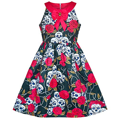 Sugar Skull Girl Costumes (Sunny Fashion Girls Dress Halloween Skull Rose Blood Costume Halter Dress Size)