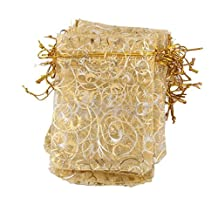 """A&S Creavention? Golden Eyelash Edge Organza Drawstring Jewelry Pouches Bag Party Wedding Gift Bags Candy Bag 4""""X5"""" (100, Champagne)"""