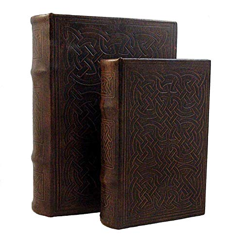 Knot Motif Celtic - MilmaArtGift Vintage Design Celtic Knot Motif Irish Decorative Leather Book Box Set Storage Secret Book