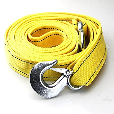 Selectec 6 Tons Car Tow Cable Towing Strap Rope with 2 Hooks Heavy Duty 20FT 13,000LB - Tow Rope Hook