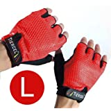 RED - Weightlifting gloves mens SIZE LARGE. Sport gloves for weight lifters. Gym fitness gloves size Large. Exercise gloves for men made with palm weight grip padding. Fingerless gloves for men