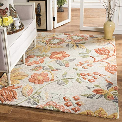 Safavieh BLM458F-9 Blossom Collection BLM458F Grey and Red Area 9' x 12' Rug,
