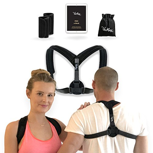 Posture Corrector Brace For Women and Men | Adjustable Straps, Comfort Pads and Travelling Bag | Upper Back Pain Relief | Supports Clavicle, Shoulders and Neck | Chest Sizes 27 - 46 inch by VeeKay