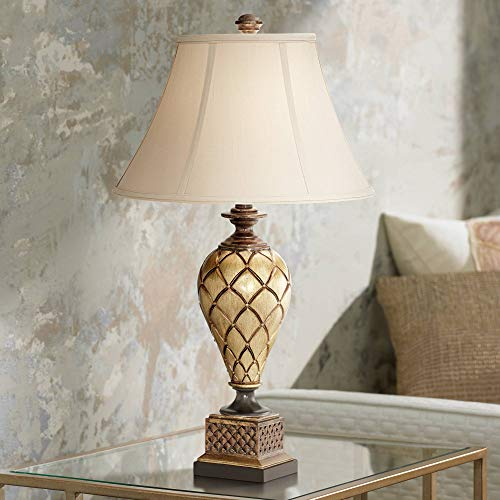 Theron Traditional Table Lamp Antique Gold Urn Flared Bell Shade for Living Room Family Bedroom Bedside Nightstand - Barnes and Ivy