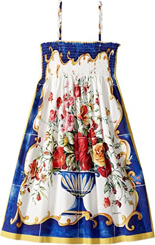 Dolce & Gabbana Kids Girl's Caltagirone Vase Print Dress (Big Kids) Floral Vase Print Youth 8 Big by Dolce & Gabbana