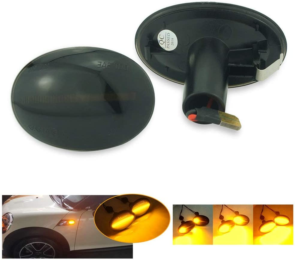 QIDIAN 1 Pair Flowing Dynamic /& Normal Sequential Blinker Light for MINI Cooper R50 R52 R53 Car LED Side Marker Light Side Turn Signal Light Dynamic black