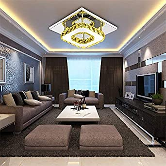 Uberlegen ETiME Kristall Deckenleuchte Warmweiss Modern Deckenlampe LED Edelstahl  Wandleuchte Kronleuchter Für Flur, Gang, Balkon