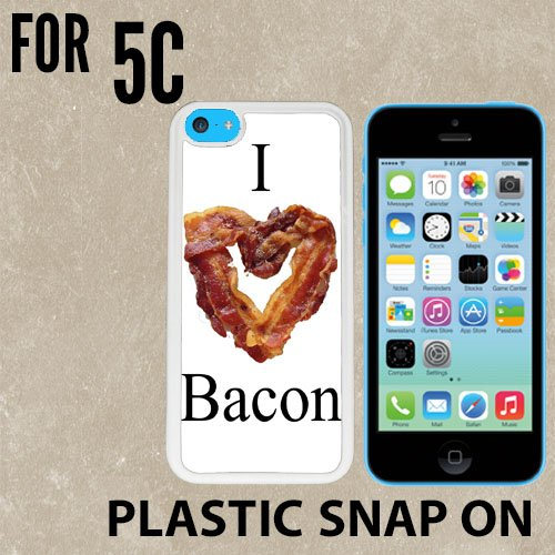 I Love Bacon Custom made Case/Cover/skin FOR iPhone 5C -White- Plastic Snap On Case ( Ship From - 6 Chanel From Iphone Case