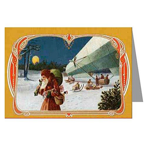 Single Greeting Card Of Santa With His Lighter Than Air Ship Delivering Presents, Christmas Holiday Ephemera