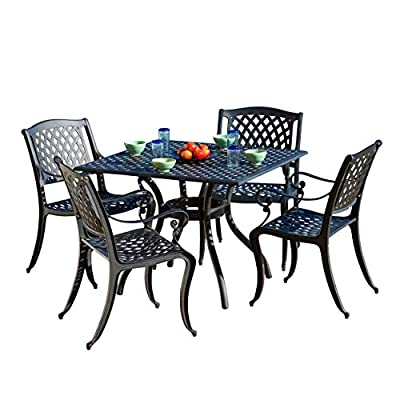 Christopher Knight Home Hallandale Cast Aluminum Outdoor Dining Set, 5-Pcs Set, Black Sand - 5-Piece set: our dining set will meet all of your outdoor furniture needs. This high-class set includes 4 chairs and a square table in a beautiful Black color, adding style to your space without sacrificing comfort. The chairs fit perfectly around the table for backyard family dining and picnics or lounging poolside with friends. Rust-resistant metal: at Christopher Knight Home, we bring you the best outdoor furniture available. Our table and chairs are made of sturdy and durable cast aluminum that is rust-resistant for years of Outside Use. If you use this set by the pool, its all-weather quality helps prevent water damage caused by wet swimsuits and splashing. Intricate antique design: We created our Marietta furniture set in a gorgeous Lattice design. The black and sand finish is neutral and looks great with other yard and patio decor. - patio-furniture, dining-sets-patio-funiture, patio - 51qVjoPy1KL. SS400  -