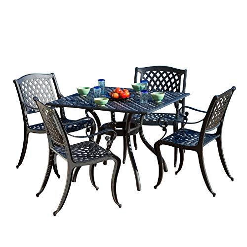 (Christopher Knight Home Marietta | 5 Piece Outdoor Cast Aluminum Dining Set | Perfect for Patio | in Black)