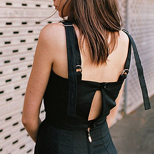 SKY Hot to wear it !!!Mujeres Arnés ajustable pantalones pieza de pestaña sin mangas Strap Sleeveless Backless Jumpsuit Long Wide Leg Trousers Negro